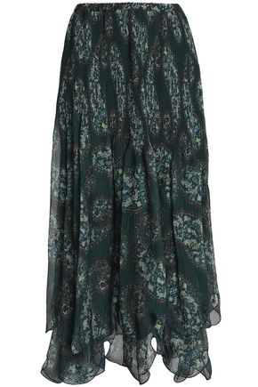SEE BY CHLOÉ Pleated printed georgette midi skirt