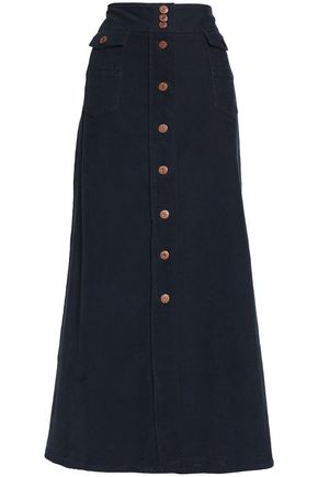 SEE BY CHLOÉ Button-detailed cotton-blend corduroy maxi skirt