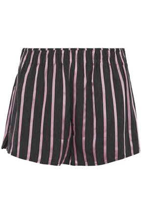 ALEXANDER WANG Striped satin and chambray shorts