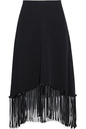 ALEXANDER WANG Fringe-trimmed silk-crepe skirt