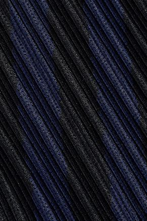ALEXANDER WANG Pleated striped mesh skirt