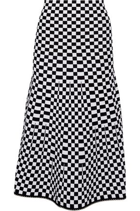 ALEXANDER WANG Bead-trimmed checked jacquard-knit midi skirt