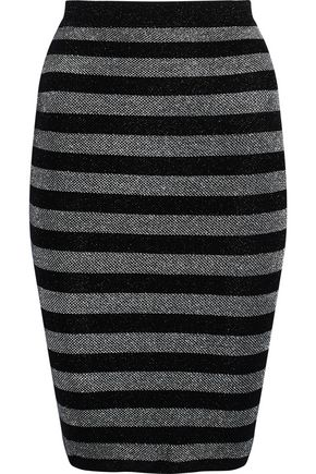 ALEXANDER WANG Metallic striped wool-blend skirt