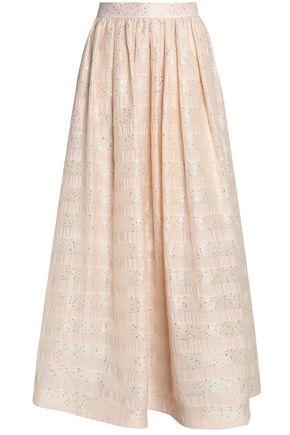 ALICE+OLIVIA Sequin-embellished embroidered gauze maxi skirt