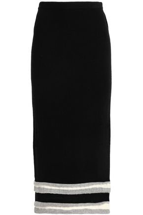MADELEINE THOMPSON Appliquéd wool and cashmere-blend midi skirt