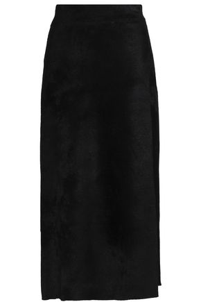 A.L.C. Wrap-effect velvet midi skirt