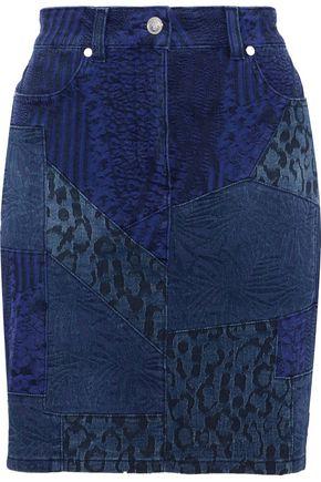 VERSUS VERSACE Patchwork printed denim mini skirt