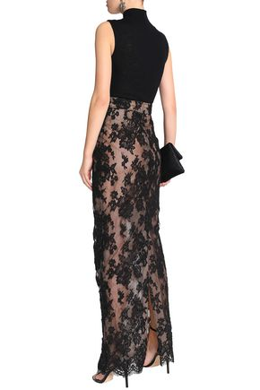 OSCAR DE LA RENTA Split-back silk corded lace maxi skirt