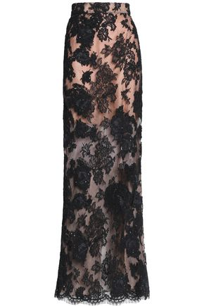 OSCAR DE LA RENTA Split-back silk corded lace maxi skirt