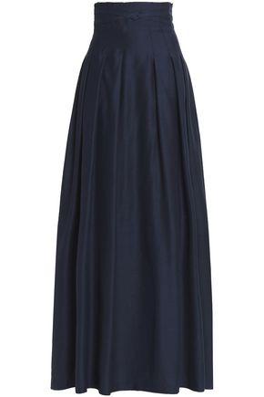 OSCAR DE LA RENTA Pleated satin maxi skirt
