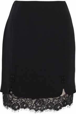 J.MENDEL Layered lace-paneled crepe skirt