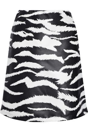 VERSUS VERSACE Coated zebra-print satin-twill mini skirt
