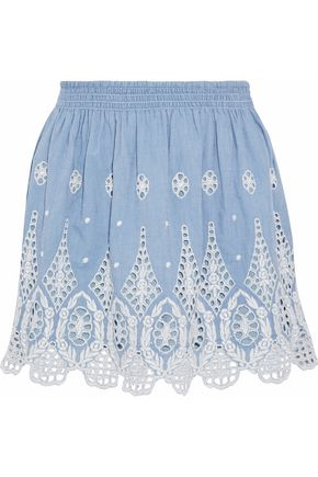 JOIE Wanita gathered broderie anglaise cotton-chambray mini skirt
