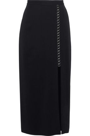 A.L.C. Ring-embellished stretch-crepe midi skirt
