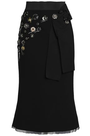 DOLCE & GABBANA Button-embellished virgin wool-blend crepe skirt