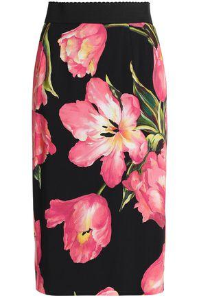 DOLCE & GABBANA Floral-print crepe pencil skirt