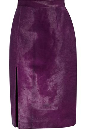BRANDON MAXWELL Split-front calf hair skirt