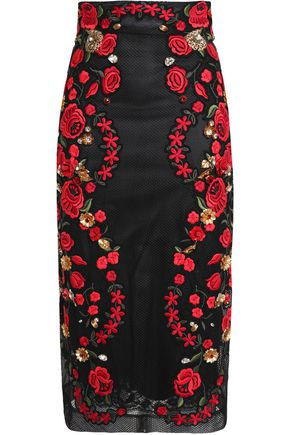 DOLCE & GABBANA Embellished embroidered mesh pencil skirt