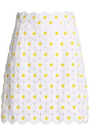 DOLCE & GABBANA Floral-appliquéd cotton-blend guipure lace mini skirt