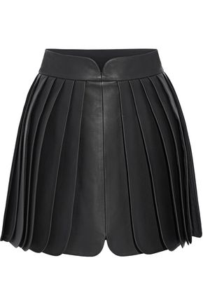 BRANDON MAXWELL Pleated leather mini skirt