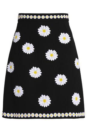 DOLCE & GABBANA Floral-appliquéd wool-crepe mini skirt