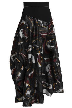 ROKSANDA Asymmetric fil coupé organza maxi skirt