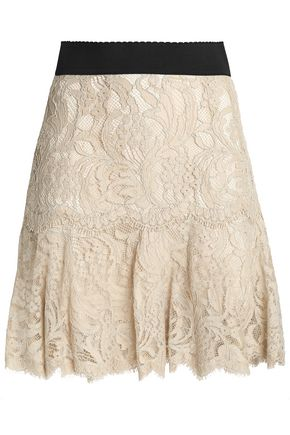 DOLCE & GABBANA Pleated cotton-blend corded lace mini skirt