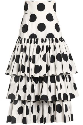 DOLCE & GABBANA Tiered polka-dot cotton midi skirt