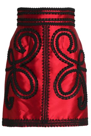 DOLCE & GABBANA Appliquéd silk-blend satin-twill mini skirt