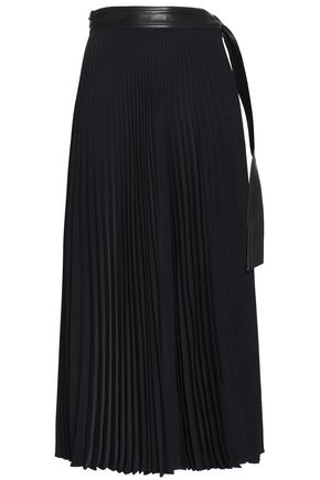 A.L.C. Leather-trimmed pleated cady wrap midi skirt