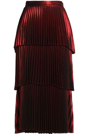 A.L.C. Tiered pleated satin midi skirt