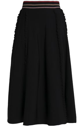 ROKSANDA Pleated ruffle-trimmed stretch-knit midi skirt