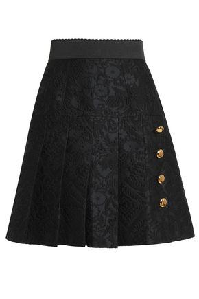 DOLCE & GABBANA Button-embellished pleated jacquard mini skirt