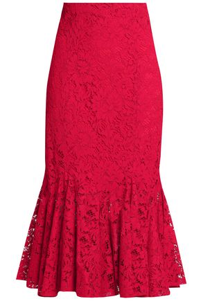 Fluted Cotton Blend Corded Lace Midi Skirt by Dolce & Gabbana