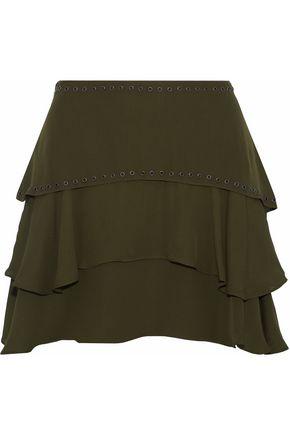 HAUTE HIPPIE Tiered eyelet-embellished silk-chiffon mini skirt