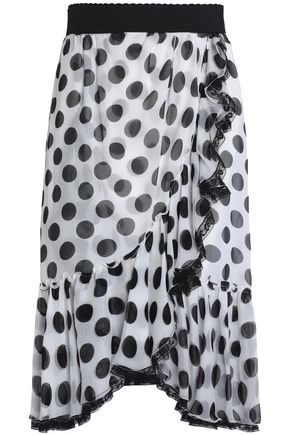 DOLCE & GABBANA Wrap-effect ruffled polka-dot silk-blend chiffon skirt