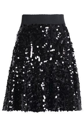 DOLCE & GABBANA Fluted sequined tulle mini skirt