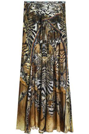 CAMILLA Asymmetric printed silk crepe de chine skirt
