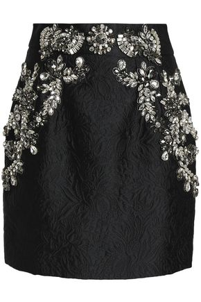 DOLCE & GABBANA Crystal-embellished matelassé mini skirt