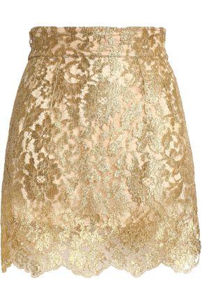 DOLCE & GABBANA Metallic lace mini skirt