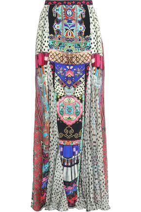 CAMILLA Embellished printed silk crepe de chine maxi skirt