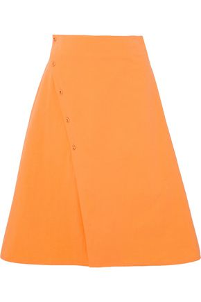 TOMAS MAIER Flared button-detailed cotton-blend skirt