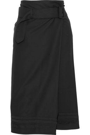 TOMAS MAIER Grosgrain-trimmed wool-twill wrap skirt