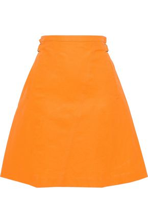 TOMAS MAIER Coated neon linen and cotton-blend skirt