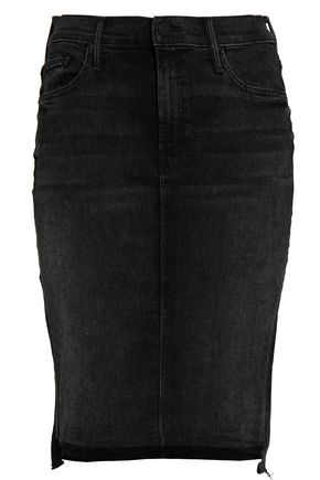 MOTHER Asymmetric frayed denim skirt