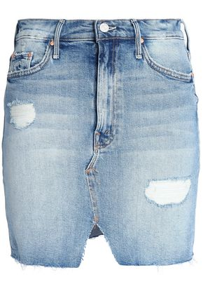 MOTHER Distressed faded denim mini skirt