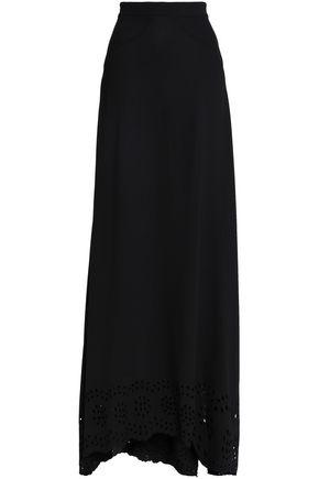 ZAC POSEN Flared broderie anglaise crepe maxi skirt