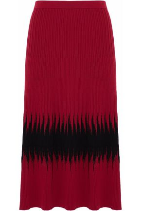 TOMAS MAIER Two-tone ribbed-knit midi skirt