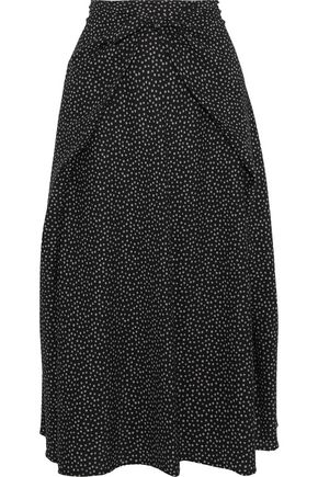 VINCE. Tie-front printed stretch-silk midi skirt