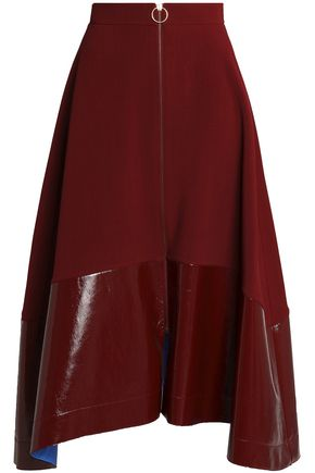 ROKSANDA Oriana faux patent leather-paneled crepe midi skirt